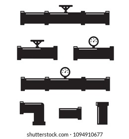 Set of black isolated plumbing pipes icon. Pipe fittings vector