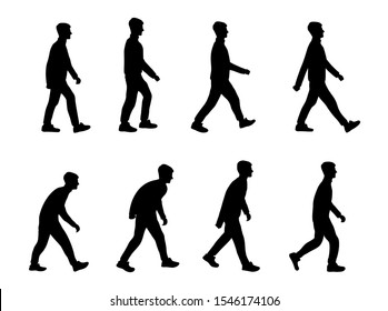 Set of black isolated silhouettes of guy. The teenager is walking. Body movement