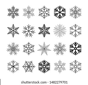 Set of black isolated snowflakes icon silhouette on white background. Flat snow icons, silhouette. Nice element for Christmas banner, cards. New year ornament. Vector