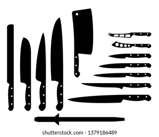 Set of black kitchen knives on a white background, vector