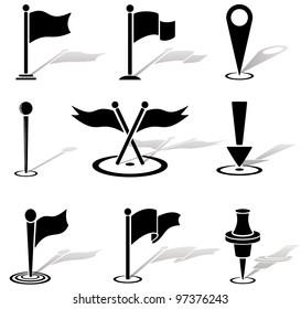 Set of black labels icons, illustration