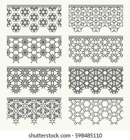 Set of black lace seamless borders, line patterns. Tribal ethnic arabic, indian, turkish decorative ornaments, fashion collection. Isolated elements for headline, banners, wedding invitation cards