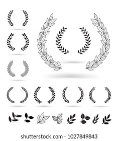 Set of black laurel wreaths isolated on white background. Vector illustration ready and simple to use for your design. EPS10.