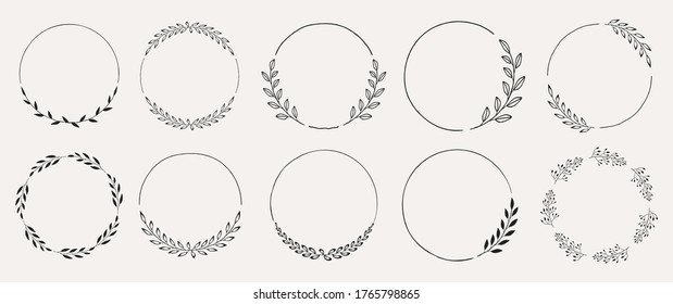 Set of black laurels frames branches. Vintage laurel wreaths collection. Hand drawn vector laurel leaves decorative elements. Leaves, swirls, ornate, award, icon. Vector illustration.