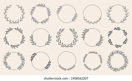 Set of black laurels wreath frames branches with circle borders. Hand drawn collection laurel leaves decorative elements. award, Leaves, invitation decoration, swirls, ornate. Vector icon illustratio