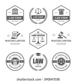 Set of black law office, firm or company, lawyer/attorney services labels, logos, signs and symbols isolated on white background