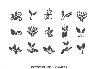 Set of black leaves design elements. Plant and sprout growing icons flat line design vector.
