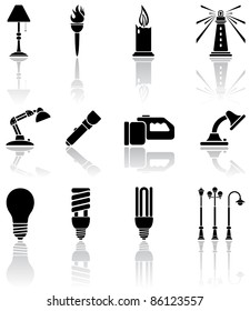 Set of black lights icons, illustration