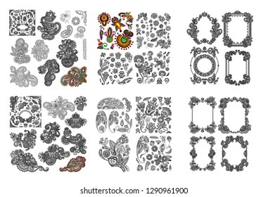 set of black line art ornate flower design collection, indian kalamkari ethnic style vector illustration collection