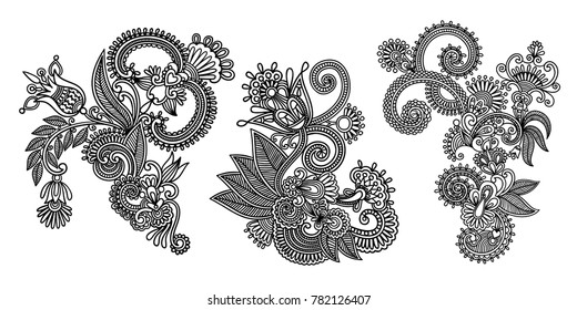set of black line floral design elements in henna style isolated on white background, vector illustration