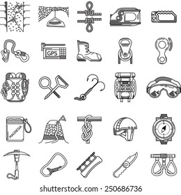 Set of black line vector icons for equipment and outfit for rock climbing, alpinism, mountaineering on white background for your site.