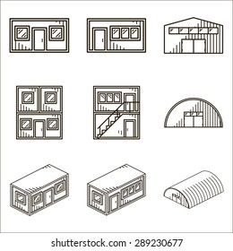 Set of black line vector icons for modular buildings on white background.