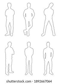 Set of black line vector silhouettes of men in different standing poses isolated on white background