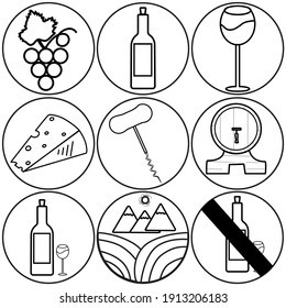 A set of black linear wine-themed icons on a white background. Grapes, bottle, glass, cheese, corkscrew.