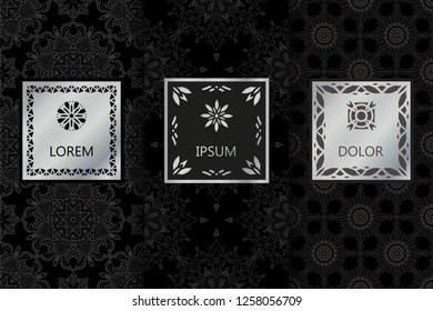 Set of Black Luxury seamless patterns background in trendy style. Vector illustration for elegant design. Abstract geometric East Ornament Pattern. Stylish decorative labels with emblem, frame.
