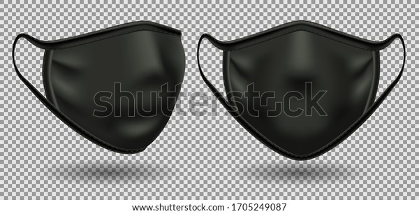 Set black medical mask with a symbol of coronavirus covid-19.  To protect against infection and polluted air. 3D realistic illustration. Isolated on transparent background, vector.