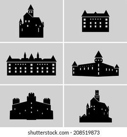 Set of black medieval castle silhouettes.