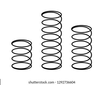Set of black metal flexible springs on white. Vector illustration of coil spring.  Mattress spring flat icon. Spiral springs of swirl line or curved wire cords, shock absorbers or equipment parts.