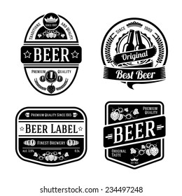 Set of black monochrome beer labels of different shapes. Vector