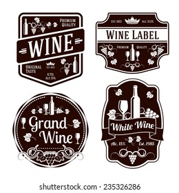 Set of black monochrome wine labels of different shapes. Vector