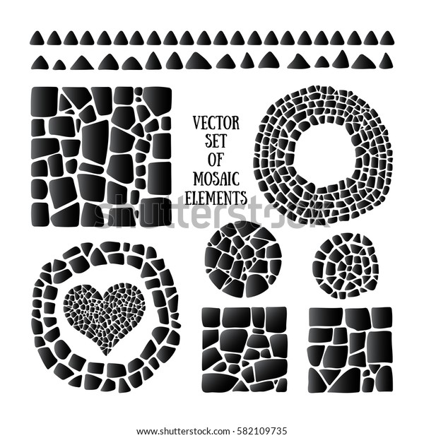 Set of black Mosaic design objects in different forms.Vector tile border, circle, heart, square. Ceramic tile texture. Easy to recolor.