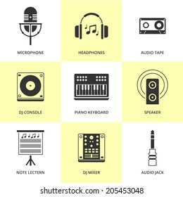 Set of black music and sound icons. Vector music stuff in flat simple style.