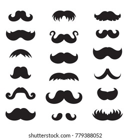 Set of black mustache vector icons. Hipster symbol. Old fashioned design for web