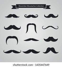 Set of black mustaches isolated on white background. Hand drawn mustaches. Vector illustration.