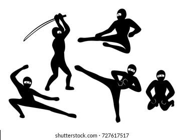 Set of black ninjas on white background. EPS10 vector illustration