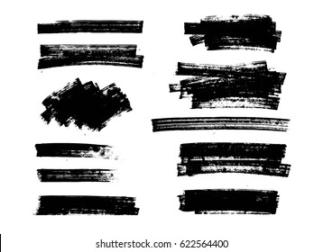 Set of black paint  brush strokes, grunge brushes, marker lines. Vector dirty artistic design elements, backgrounds, textures.