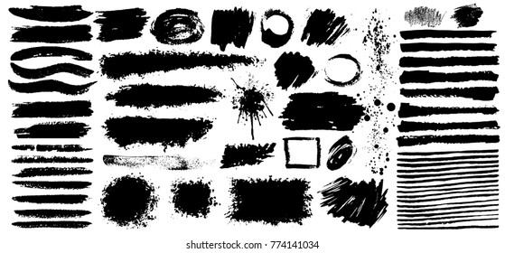 Set of black paint, grunge, ink, dirty brush strokes. Dirty artistic design elements. Vector illustration. Isolated on white background