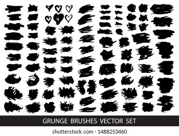 Set of black paint, ink brush strokes, brushes, lines. Dirty artistic design elements, boxes, frames for text. Vector illustration