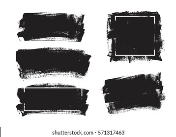 Set of black paint, ink brush strokes, backgrounds. Dirty artistic design elements, boxes, frames and place for text.