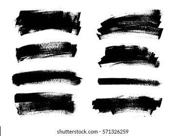 Set of black paint, ink brush strokes. Dirty grunge artistic design elements, backgrounds, textures, brushes.