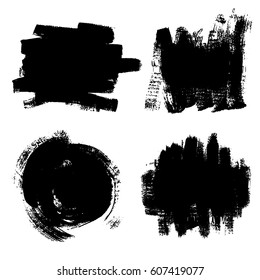 Set of black paint, ink brush clouds and backgrounds. Brush, ink. Dirty artistic design element. White Background. Vector Illustration