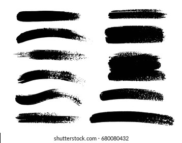 Set of black paint, ink brush strokes, brushes, lines. Dirty artistic design elements. Vector illustration.