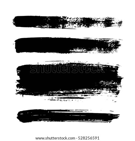 f85d8f01f056 Set Black Paint Ink Brush Strokes Stock Vector (Royalty Free ...