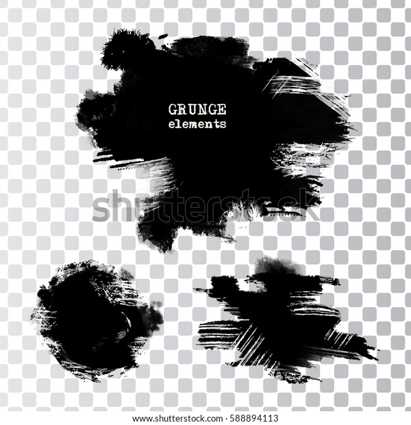 Set of black paint, ink brush strokes.