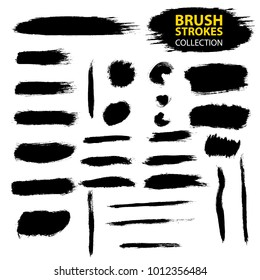Set of black paint, ink, grunge, dirty brush strokes. Dirty artistic design element, box, frame or background  for text. Isolated on white background. Vector set of grunge brush strokes.