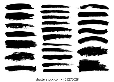 Set of black paint, ink  Grunge brush stroke. Dirty artistic design elements
