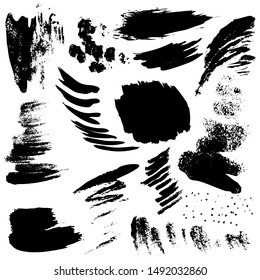 Set of black paint, ink splatters, grunge texture, brush strokes, brushes, blots, drops, splashes. Vector collection dirty artistic design elements, paintbrush, grunge silhouette