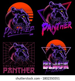 A set of black panther illustrations in a neon vibe for logo designs, t-shirts, emblems, badges, embroidery and other print designs