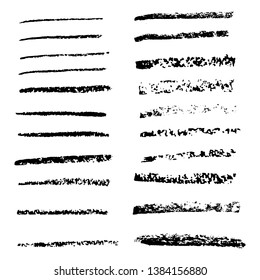 Set of black pastel brush strokes, lines. Vector hand drawings with design elements for posters, logos, brushes, advertising, templates, patterns, banners, icons. White isolated background.