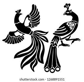Set of black phoenix bird/ peacock isolated on white background. Template. Die cut. Perfect for wall design. Wall Tattoo. Set as a logo or stamp.