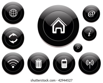 set of black plastic buttons. vector
