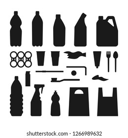 Set of black plastic objects on white background. Silhouette of plastic garbage Bottle, bag, straw, spoon, fork. Plastic pollution.