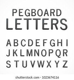 Set of black plastic pegboard letters. ABC letters isolated on white background. Plastic model-kit alphabet. Pegboard letters for your project.