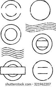 Set of black postal stamps