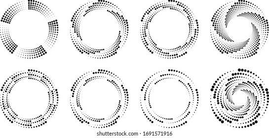 Set of black radial halftone dots in spiral form. Geometric art. Trendy design element for frame, logo, tattoo, sign, symbol, web pages, prints, posters, template, pattern and abstract background