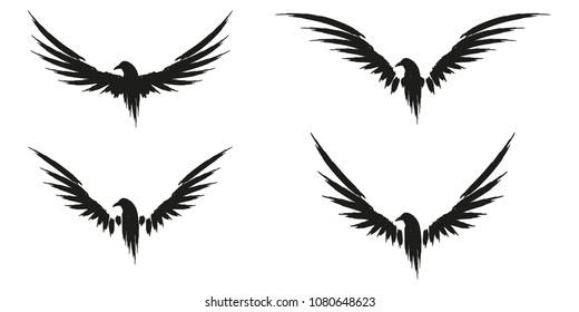 Set of black raven crow icon sign illustration.